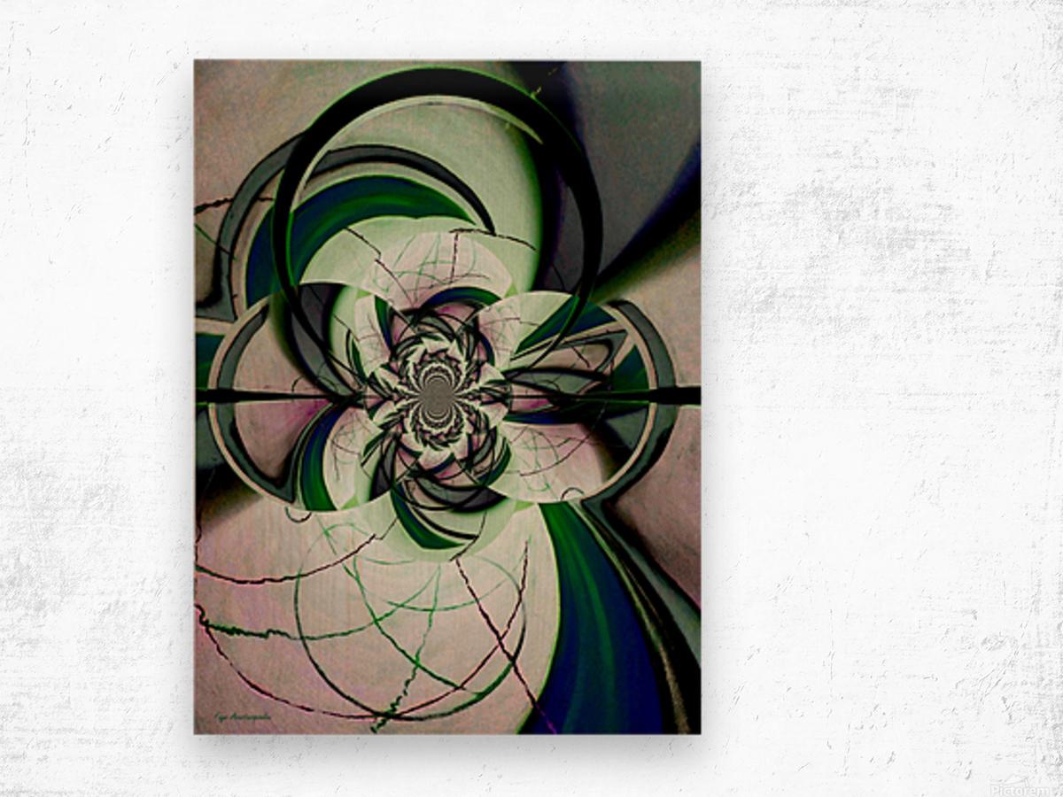 Broken Symmetry Teal Wood print