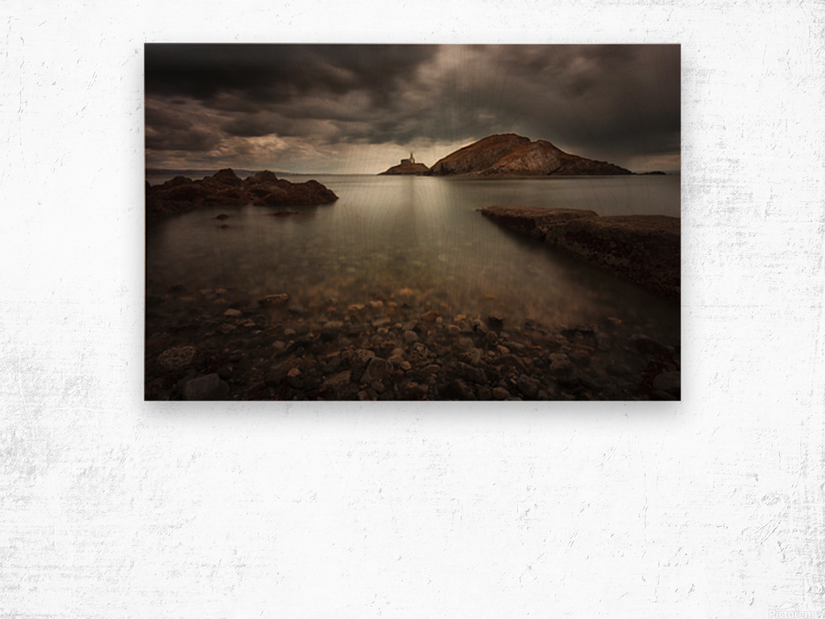 Rough weather over Mumbles lighthouse Wood print
