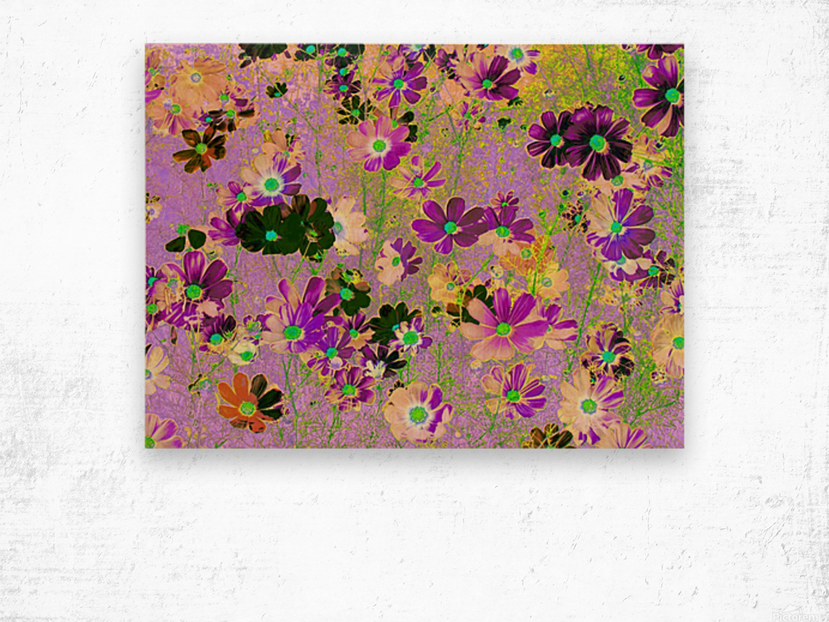 Flowers Garden Purple Wood print