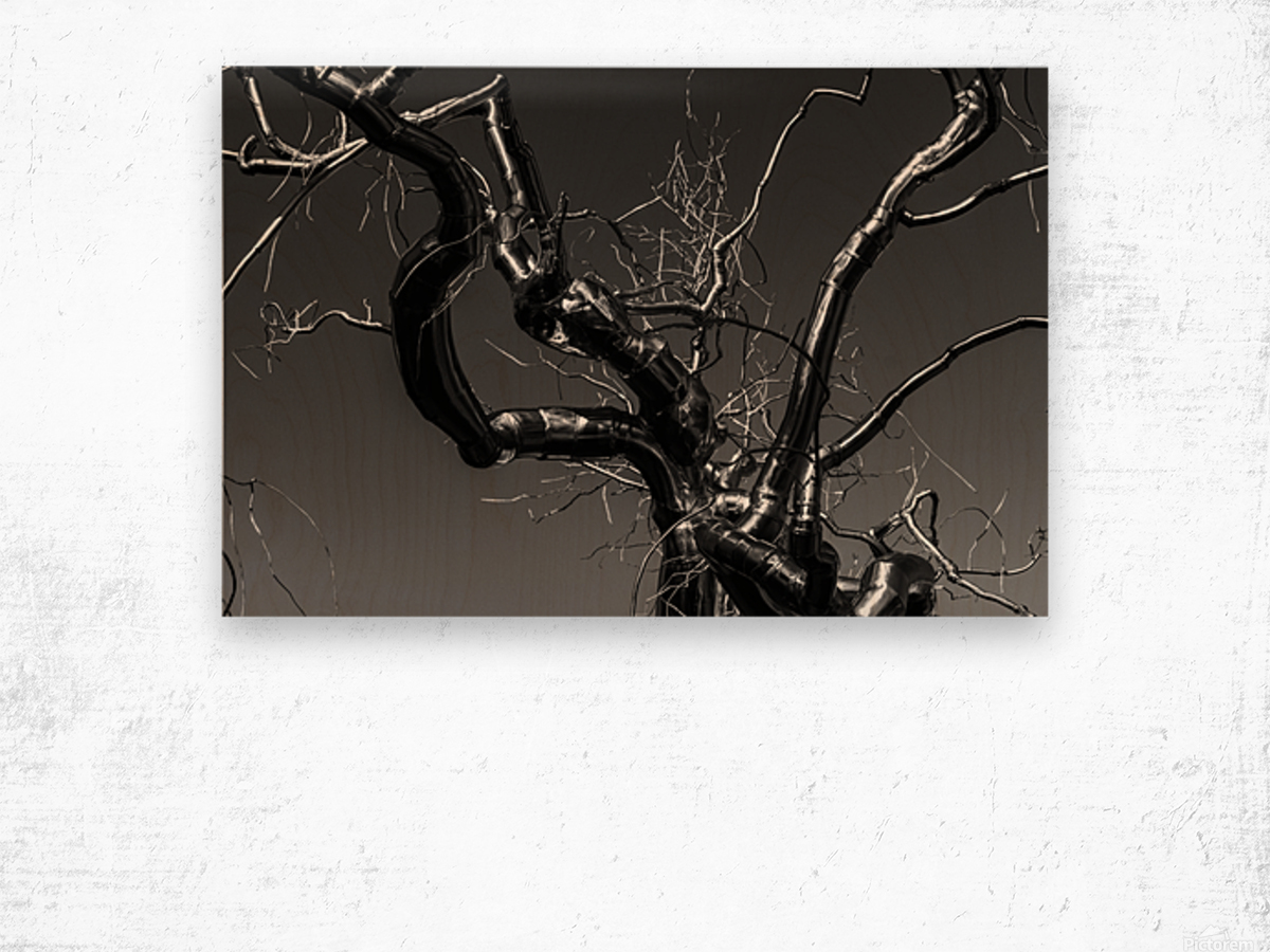 Metal tree Wood print