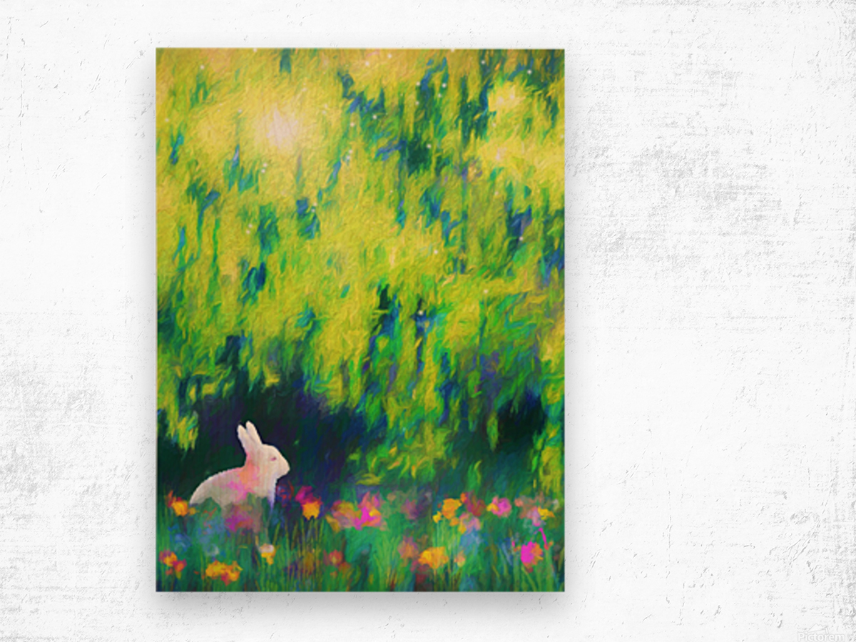 Bunny beneath the Willow Tree Wood print