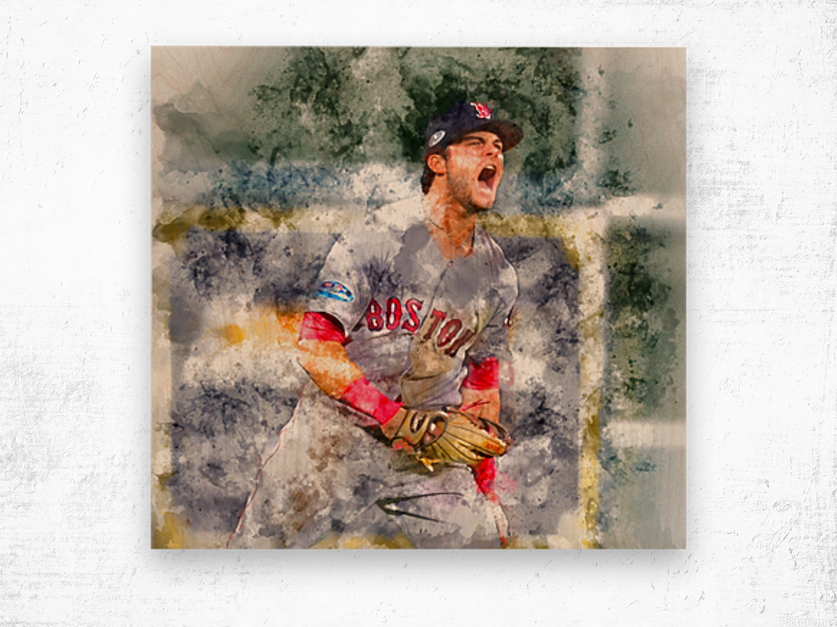 ANDREW BENINTENDI Water Color Print - Boston Red Sox Print Wood print