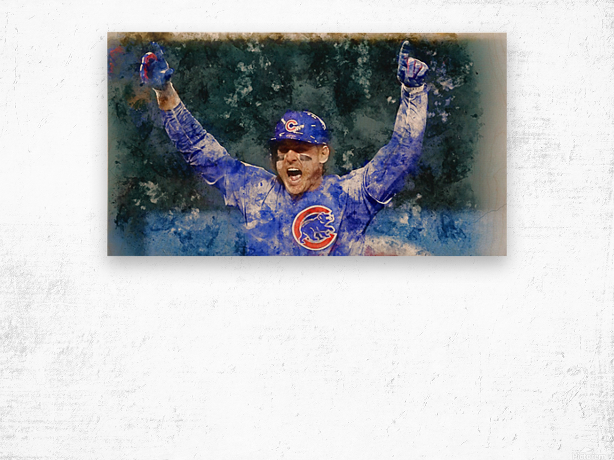 ANTHONY RIZZO Water Color Print - Chicago Cubs Print Wood print