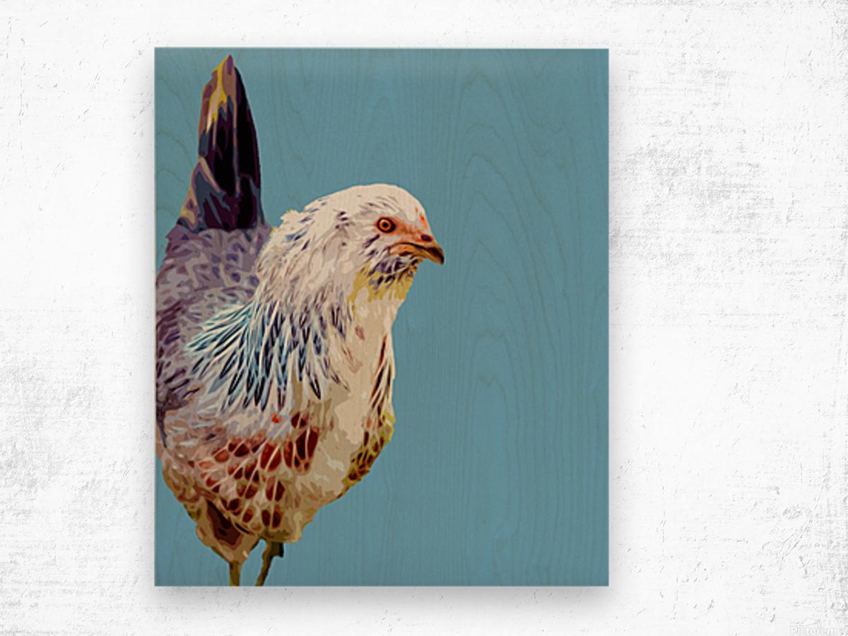 chicken pop art blue Wood print