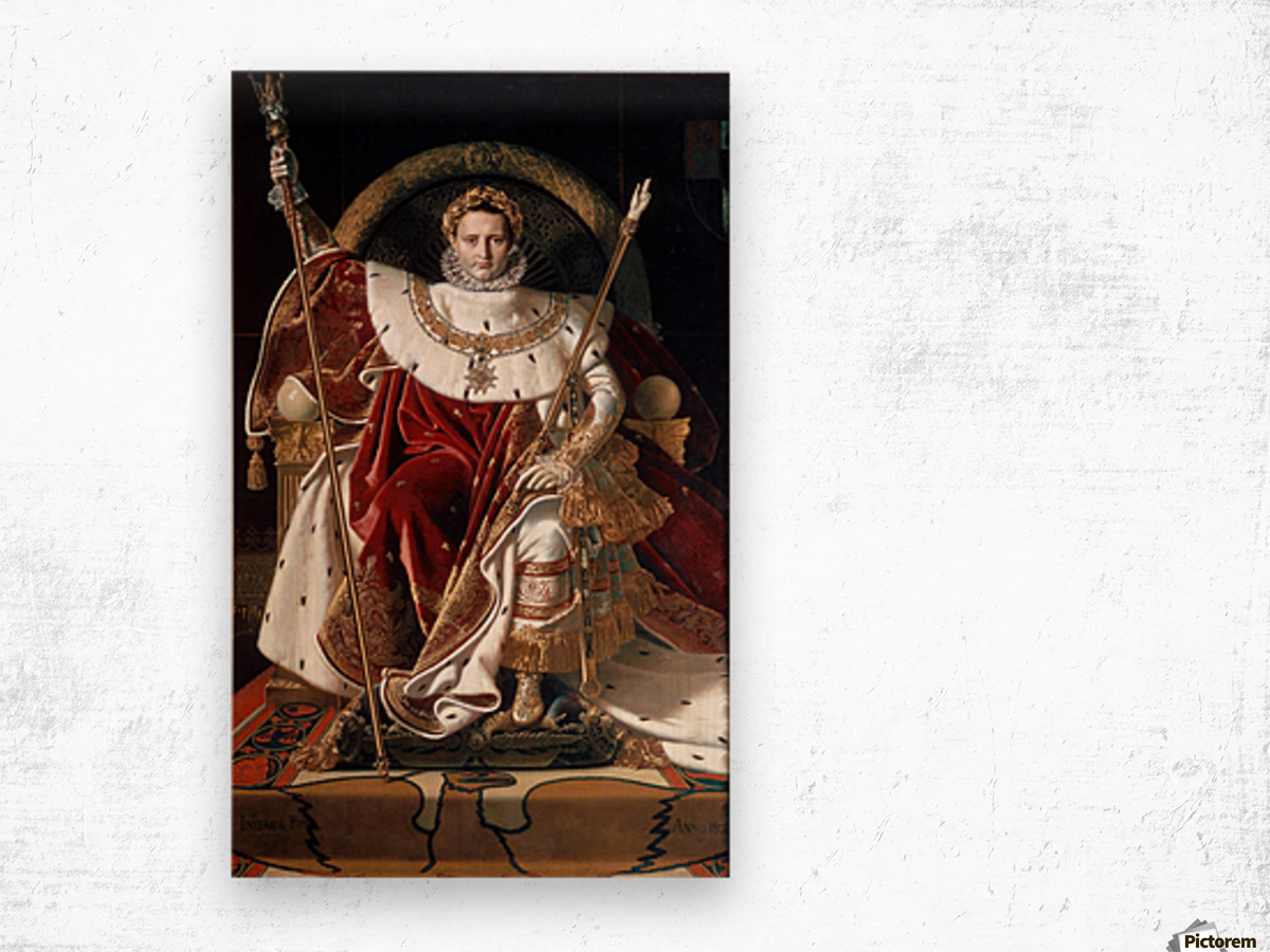 Napoleon on his imperial throne Wood print