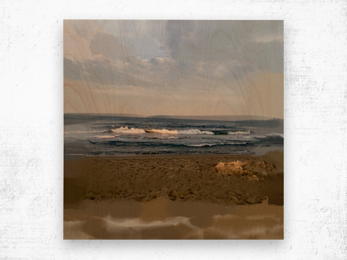 The Surf at Sunset Wood print