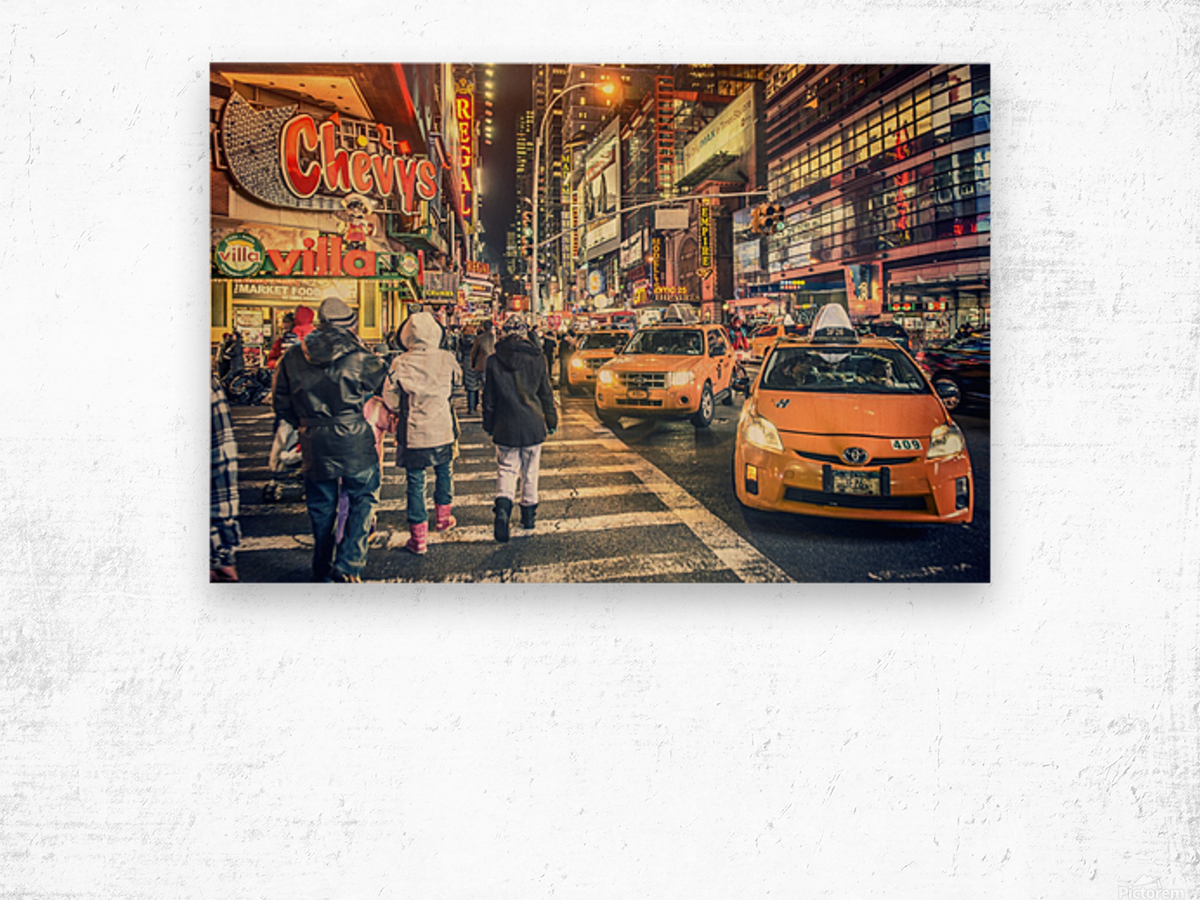 New York City Taxi Mayhem  Wood print