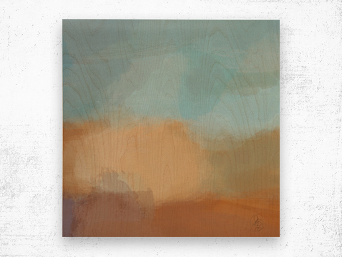 Turquoise and Copper Landscape Wood print