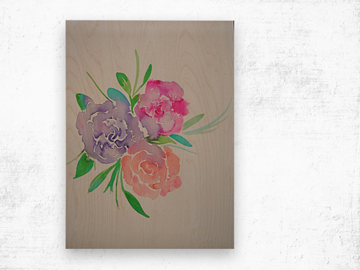 Watery roses Wood print
