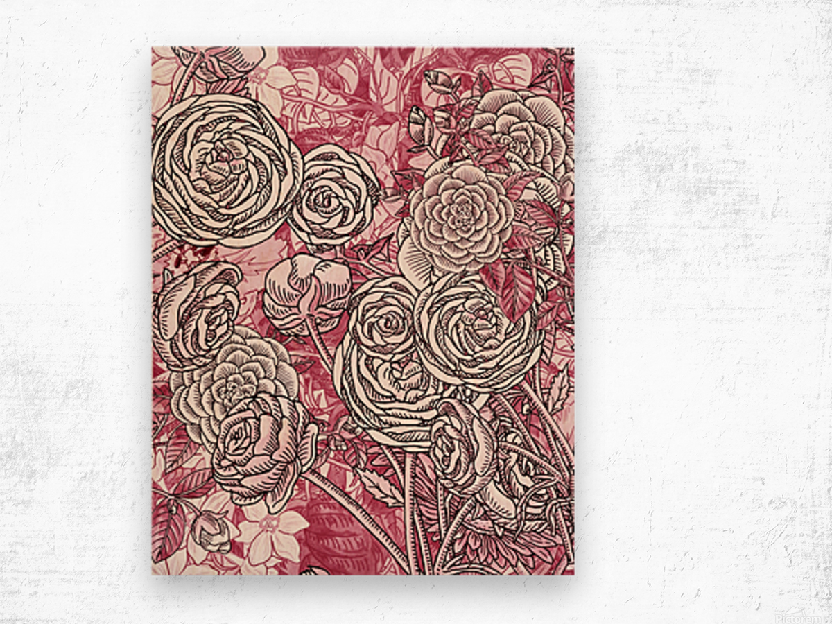 Watercolor Botanical Flowers Garden Pink Flowerbed V Wood print