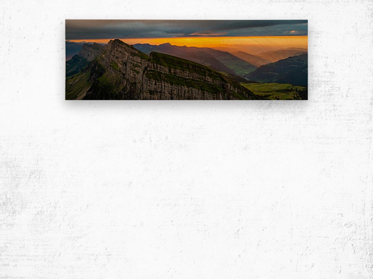 sunset at Chäserrugg Wood print