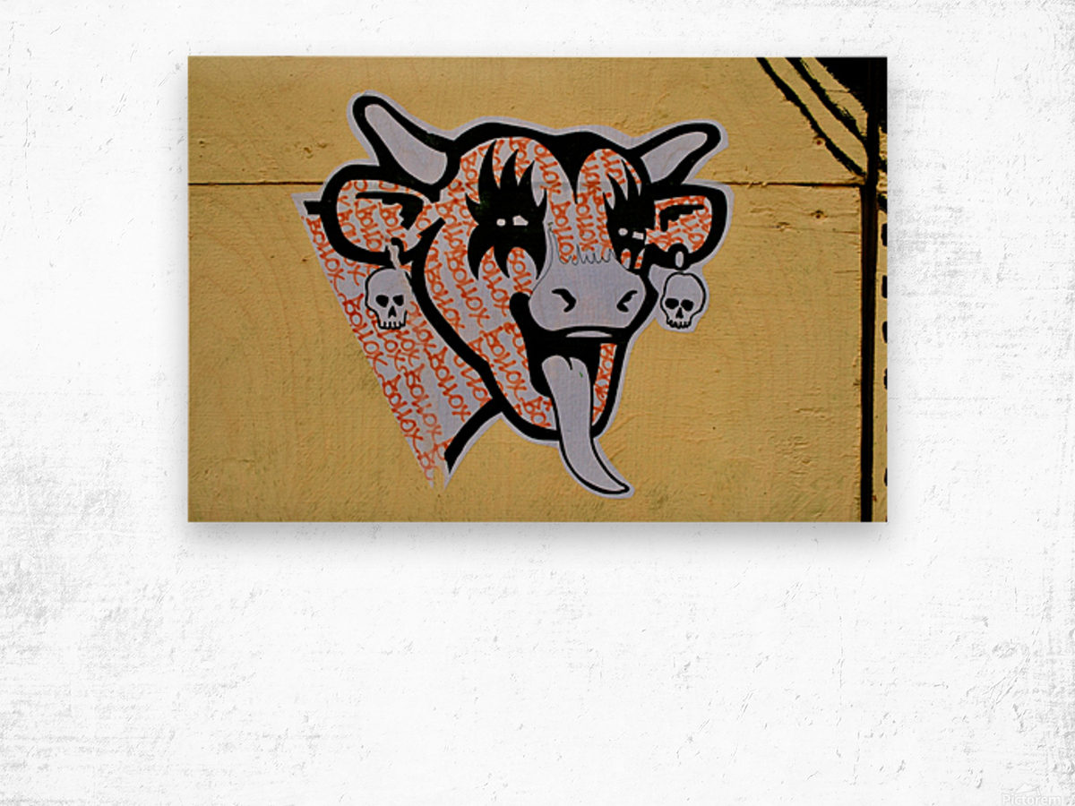 Demon Laughing Cow Wood print