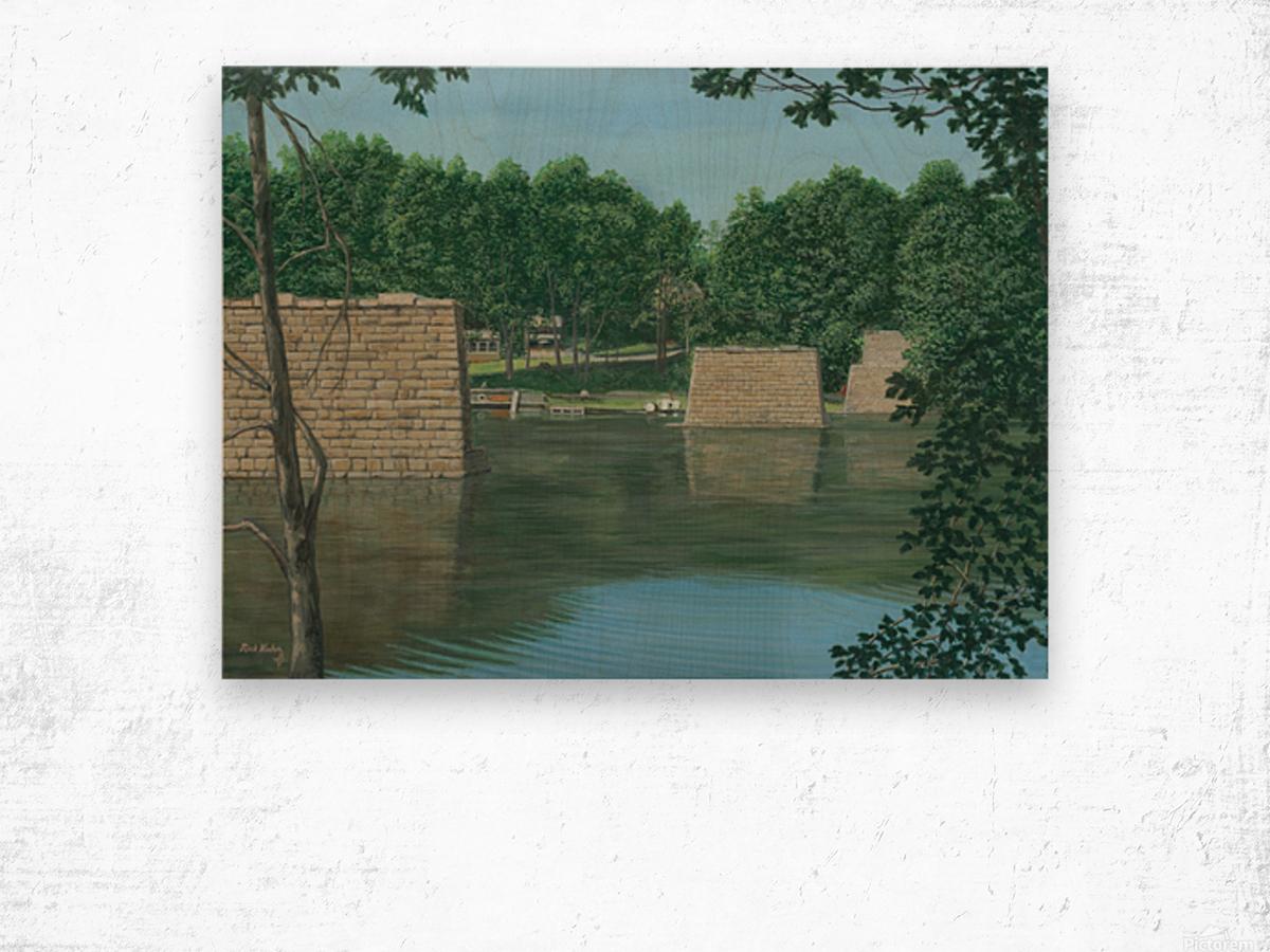 Stone Piers Housatonic River - Newtown Scenes 18 X 24  Wood print