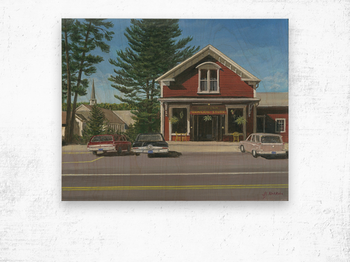 Church House and Store - Newtown Scenes 16X20 Wood print