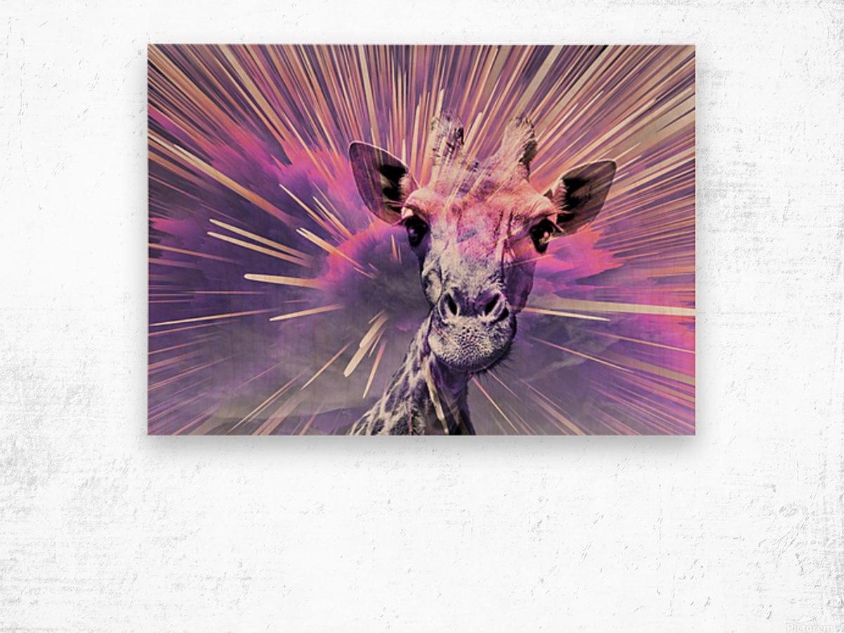 Giraffe pop 1 Wood print