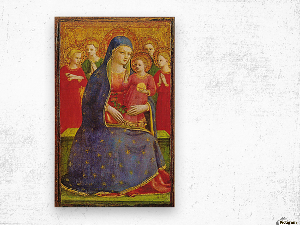 Virgin with the child and four angels Wood print