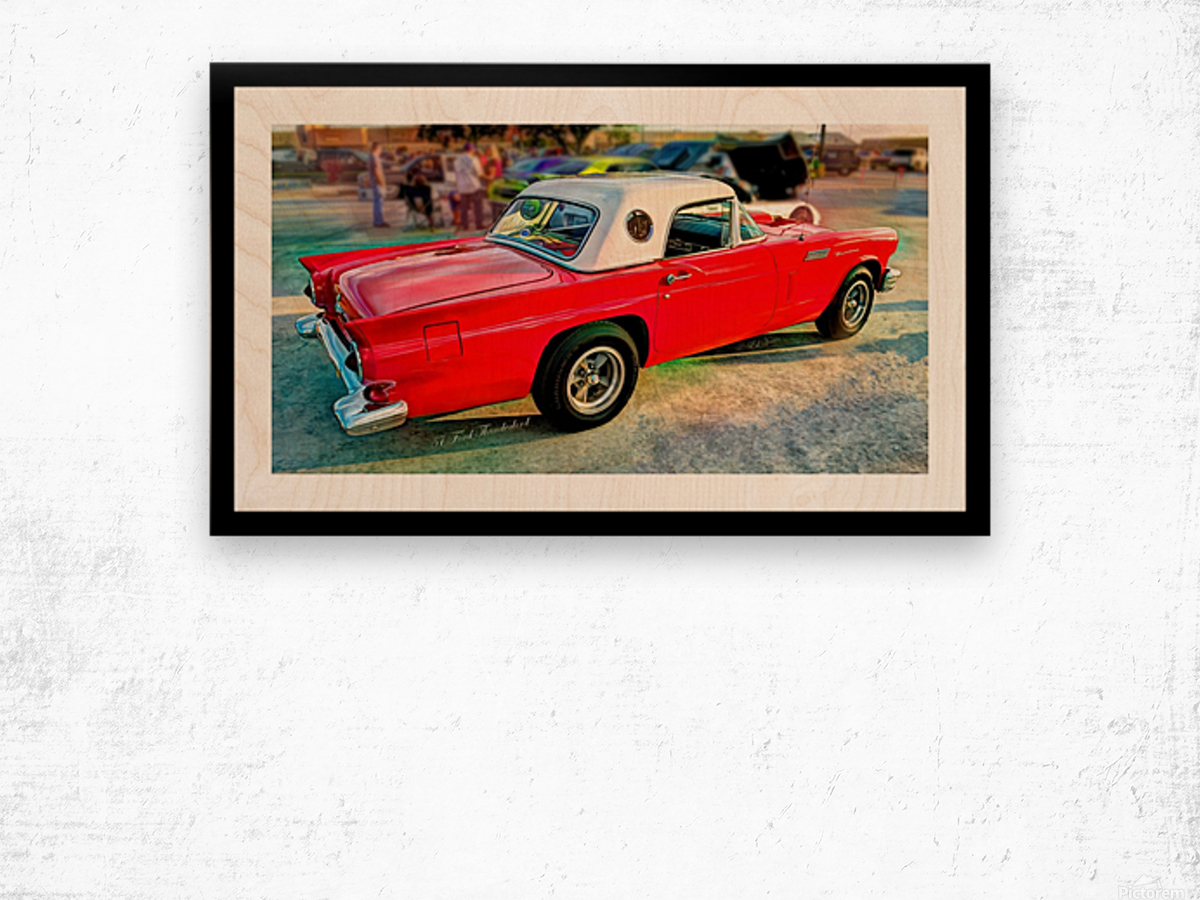 1957 FORD THUNDERBIRD - HDR - PAINTING Wood print