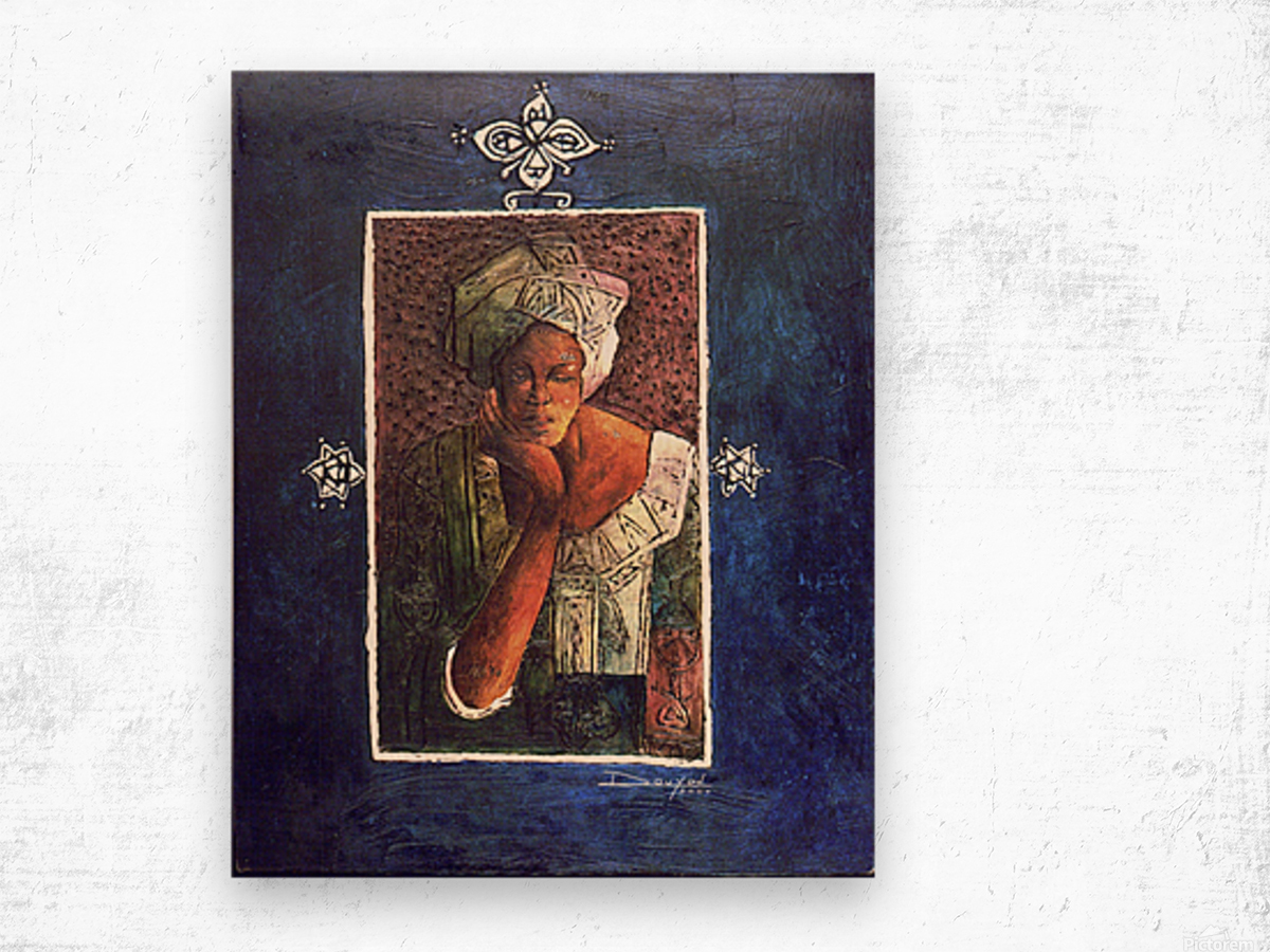 Femme au turban Wood print