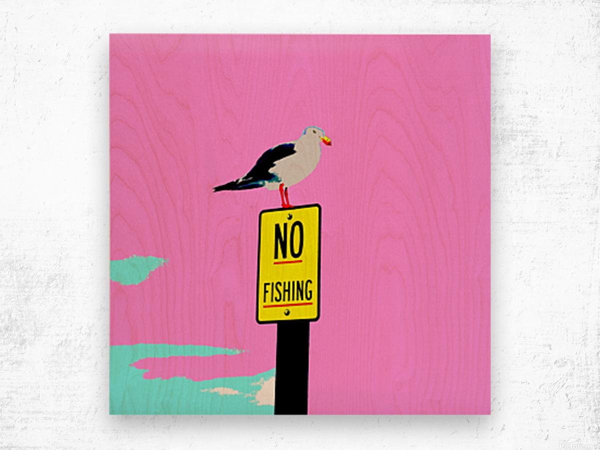 NO Fishing - Pink Wood print