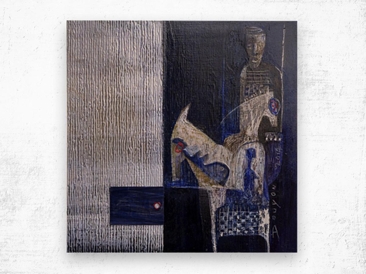 Blue Horserider 1 Wood print