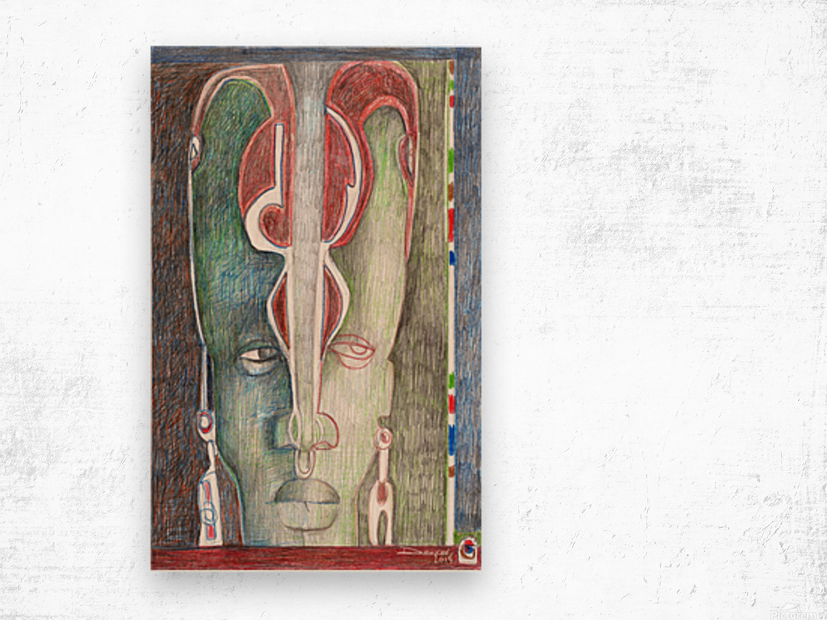 le masque 1 Wood print
