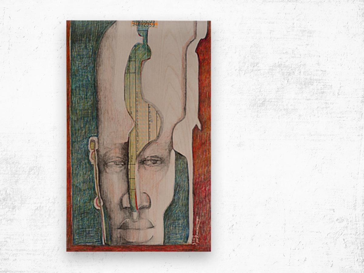 le masque 2 Wood print