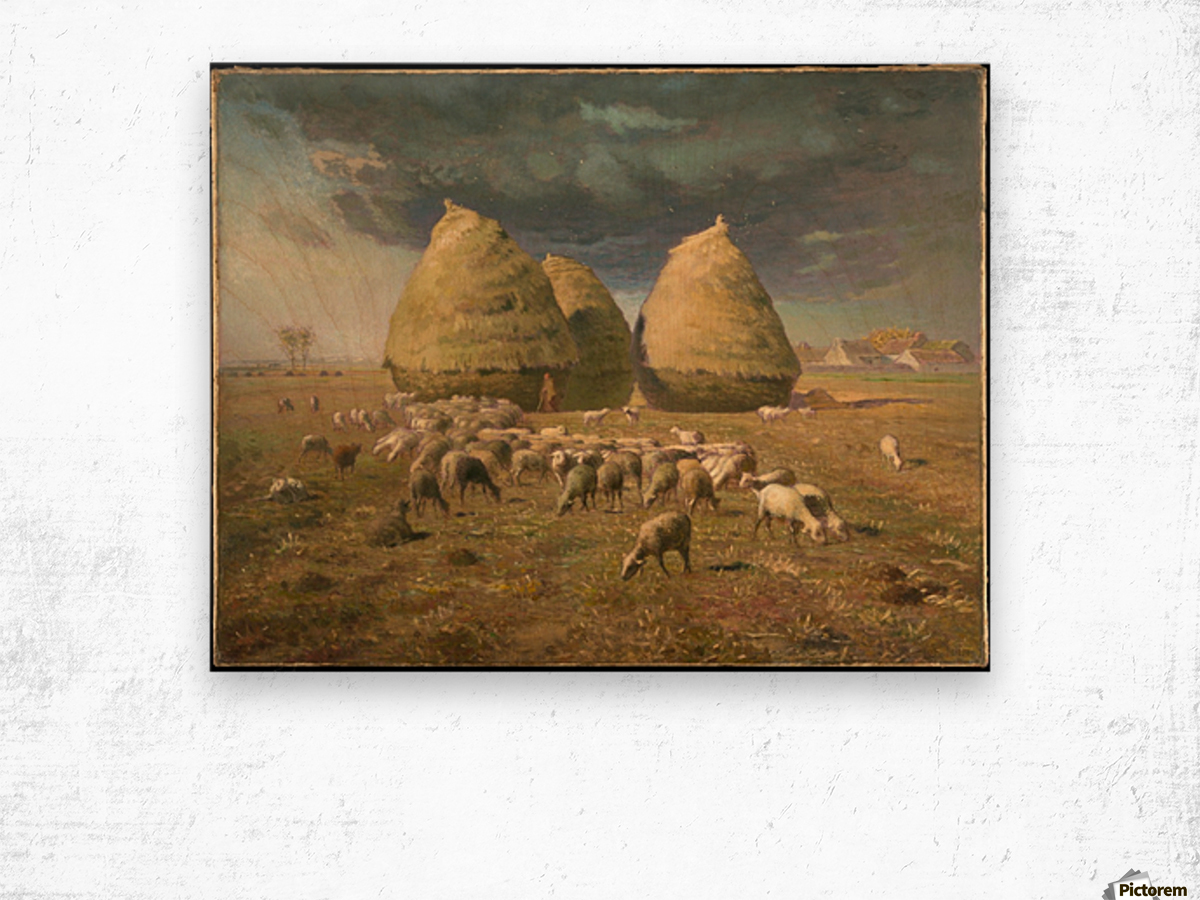 Haystacks - Autumn Wood print
