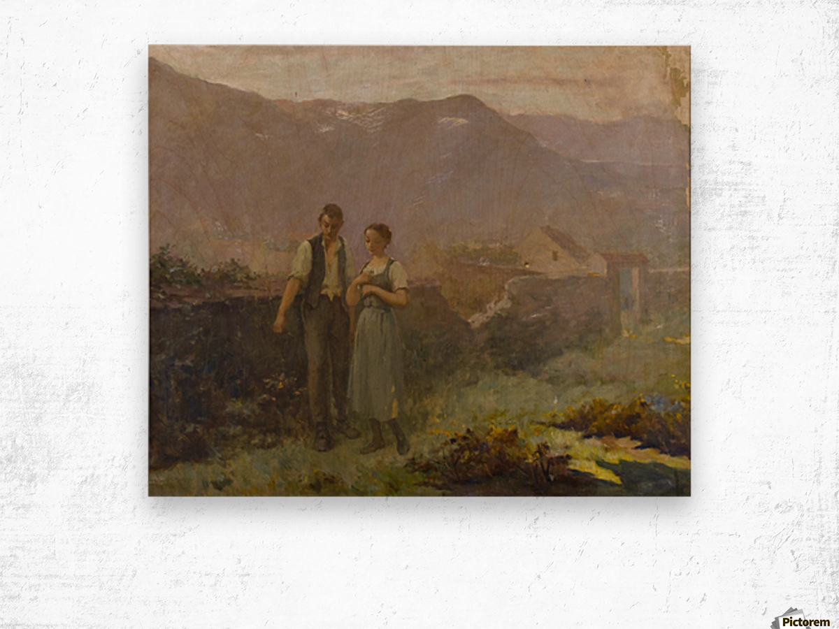 A courting couple Wood print