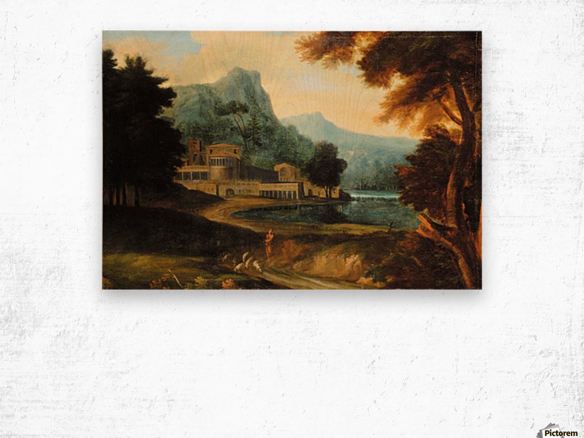 Castle wilh lake near mountains Wood print