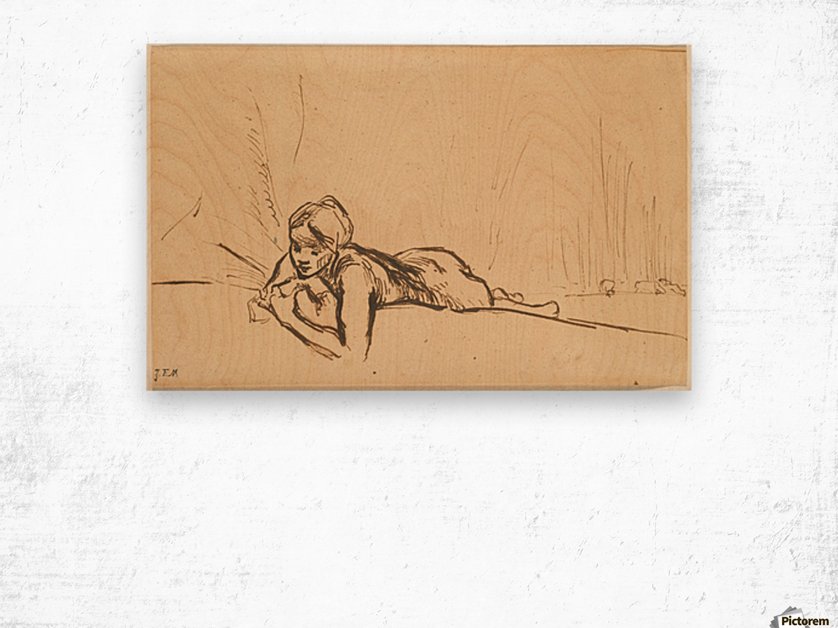 Nude reclining in a landscape Wood print