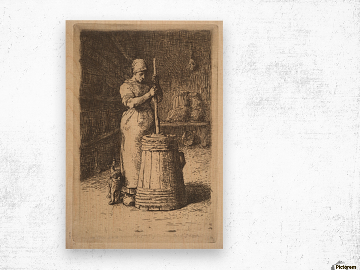 Woman churning butter Wood print