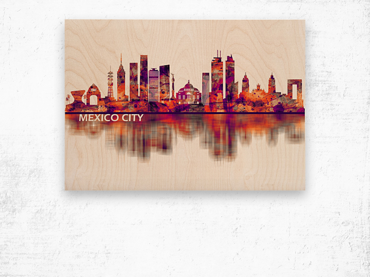 Mexico City Mexico Skyline Wood print