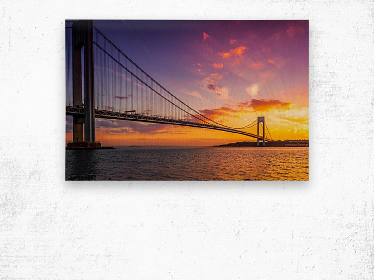 Verrazano bridge at sunset Wood print