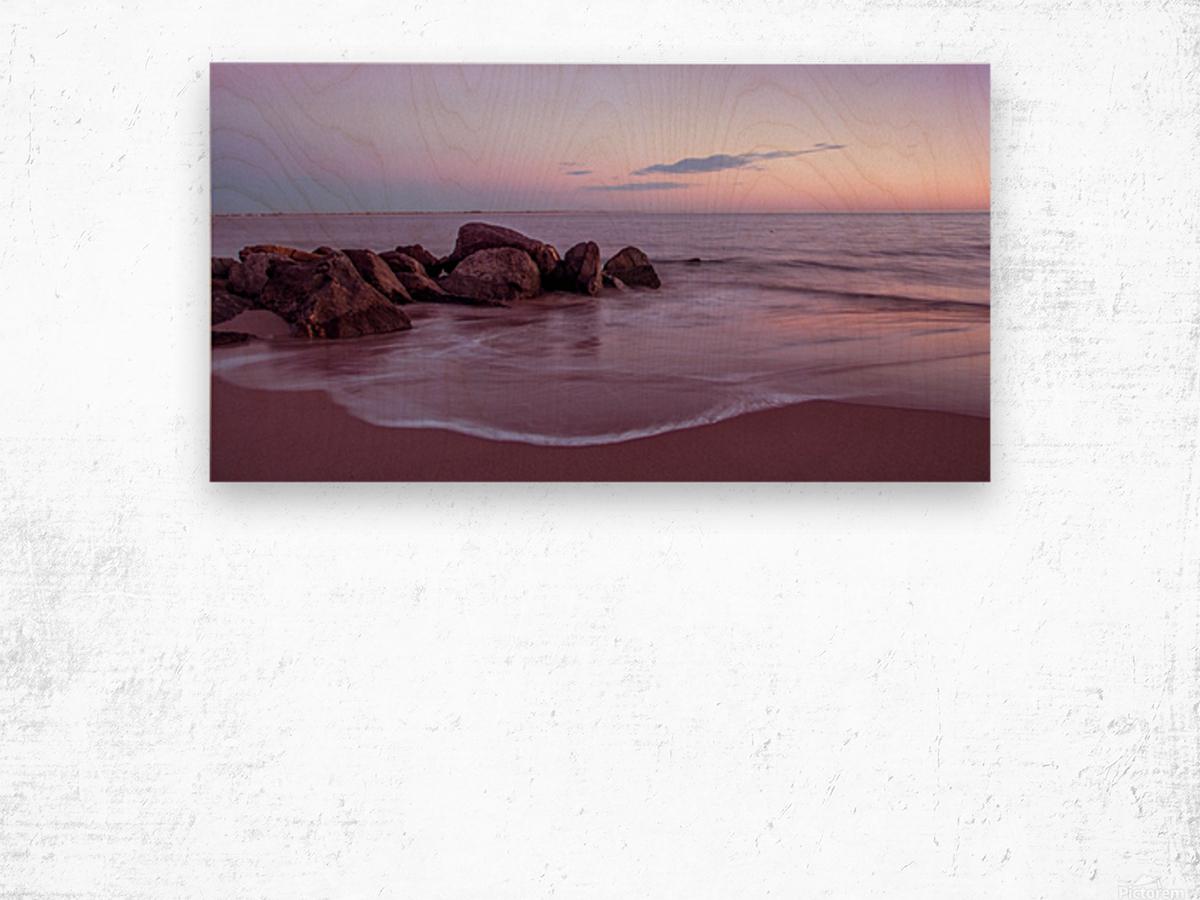 Coney Island sunset Wood print