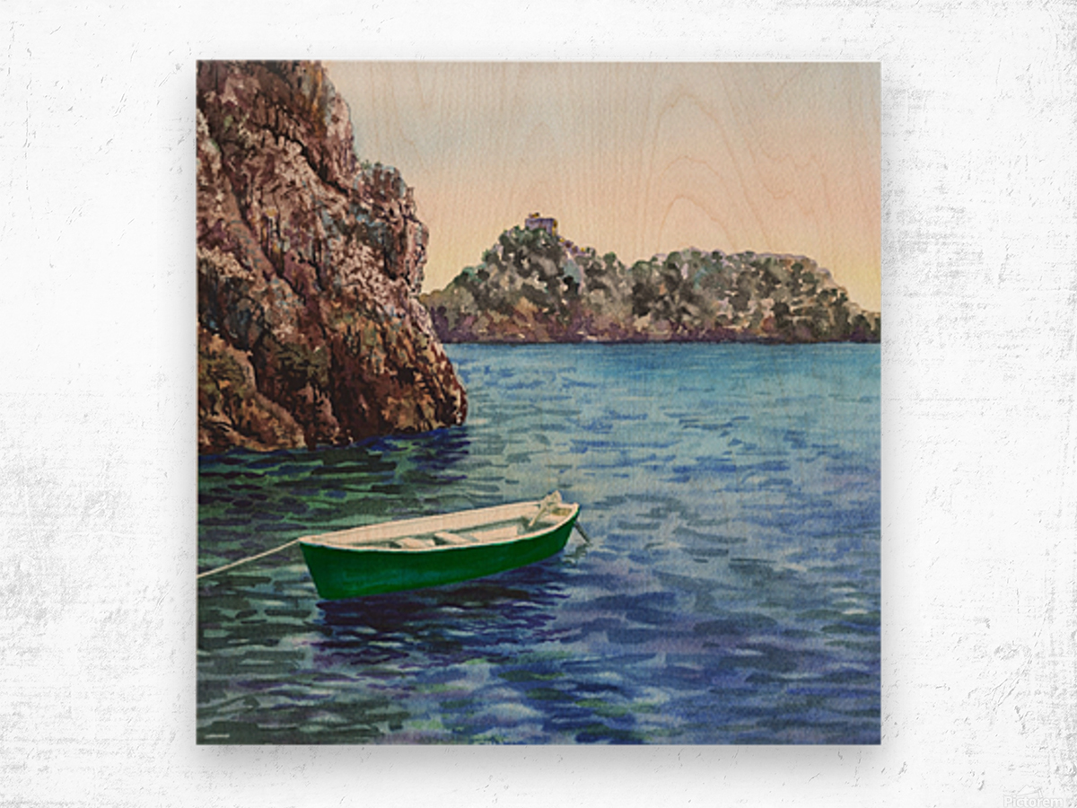 Green Boat Blue Sea Grotto Emeraldo Harbor  Wood print