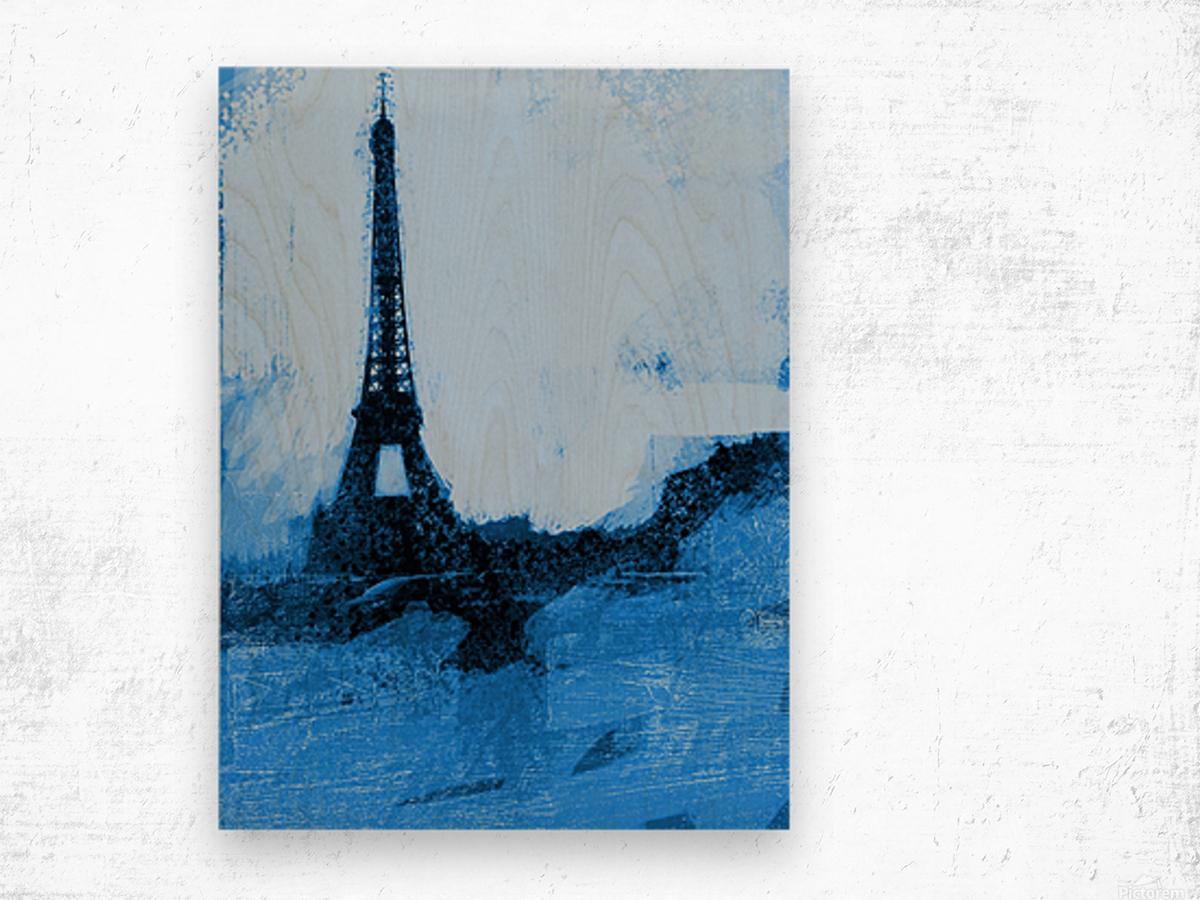 Paris Icon in Cyan Wood print