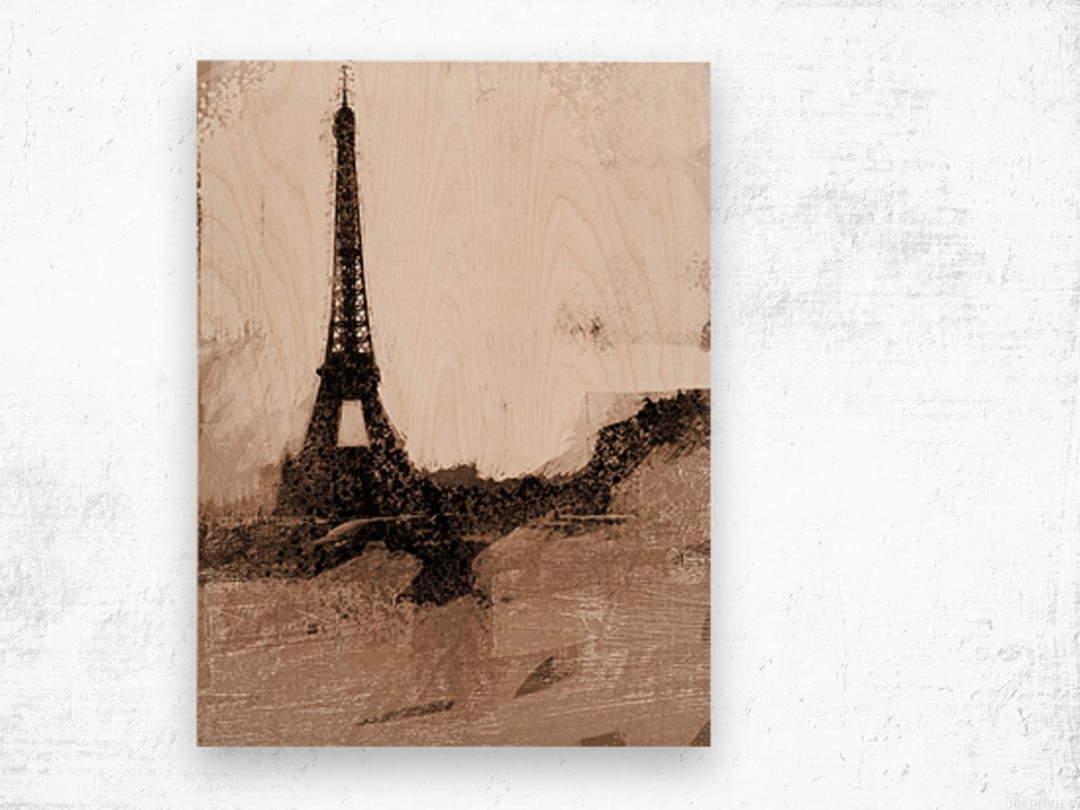 Paris Icon in Sephia Wood print