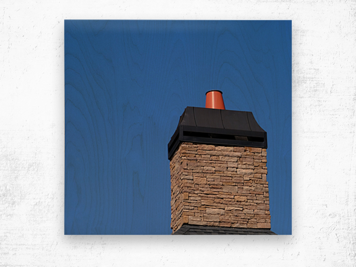 Stone Chimeny with Metal Cap Wood print