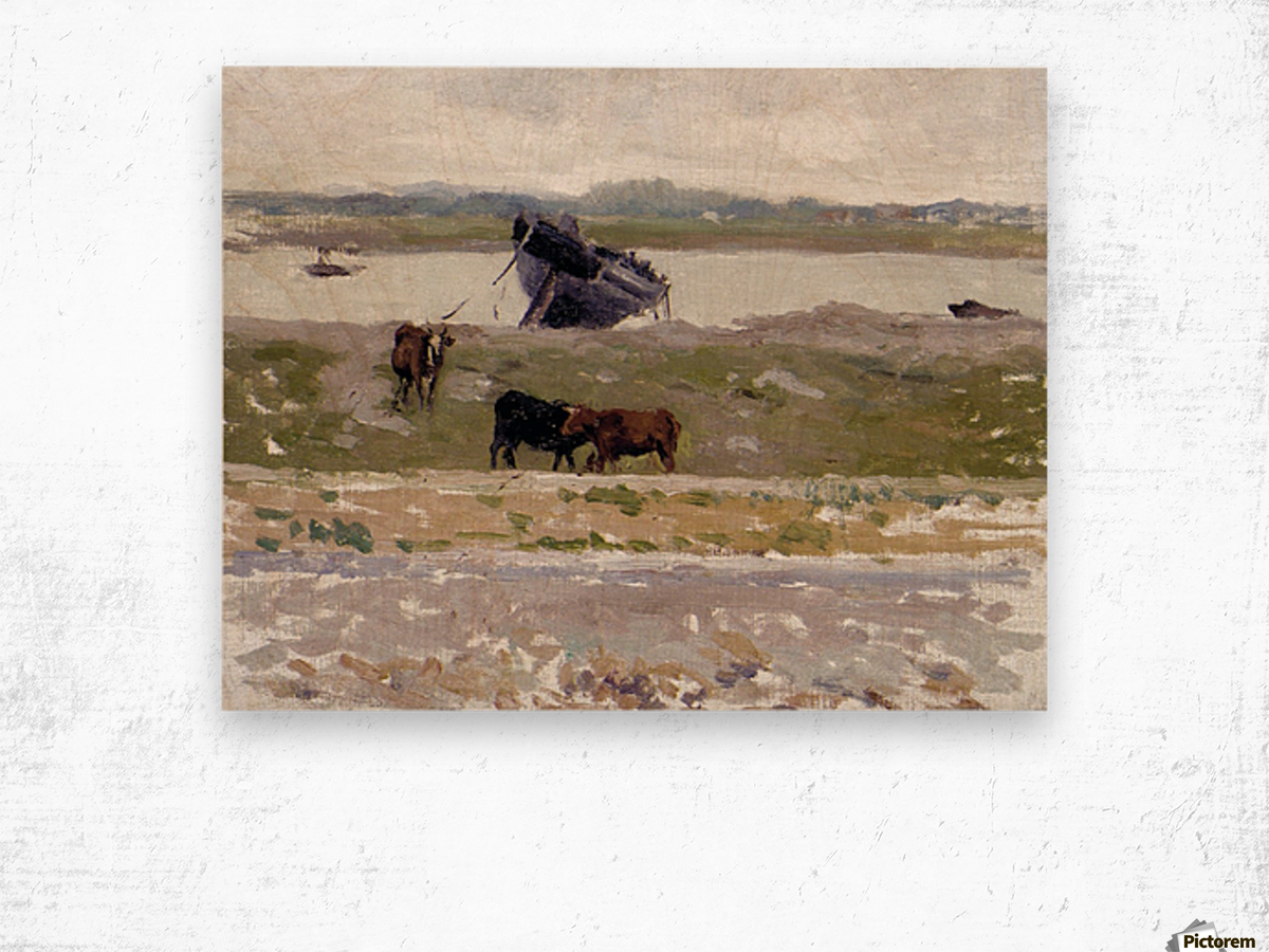 The Cows near an Old Boat, Etaples Wood print
