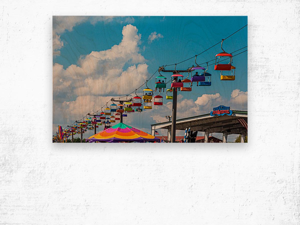 Skylift Over Cumming Fair Wood print
