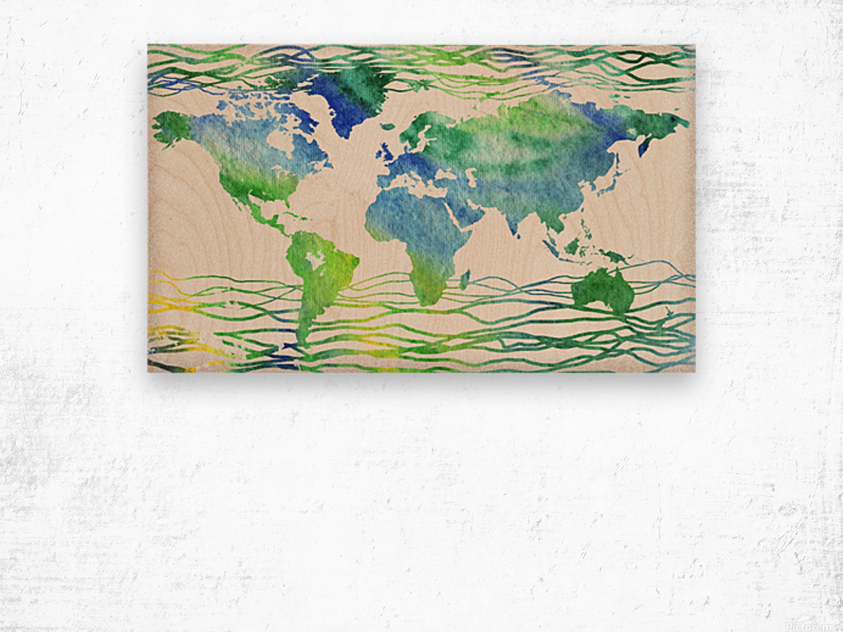 Watercolor Silhouette World Map Blue Green Wave  Wood print