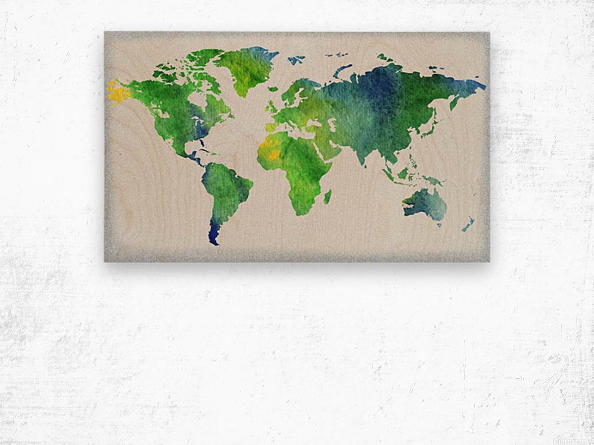 Watercolor Silhouette World Map Peaceful Green  Wood print