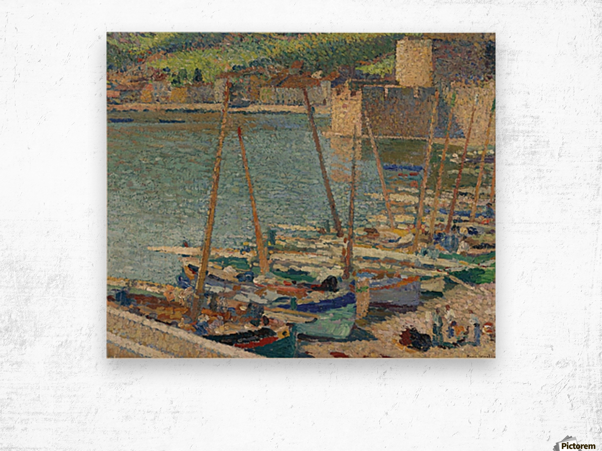 Fishing Boats on the Shore at Collioure Wood print