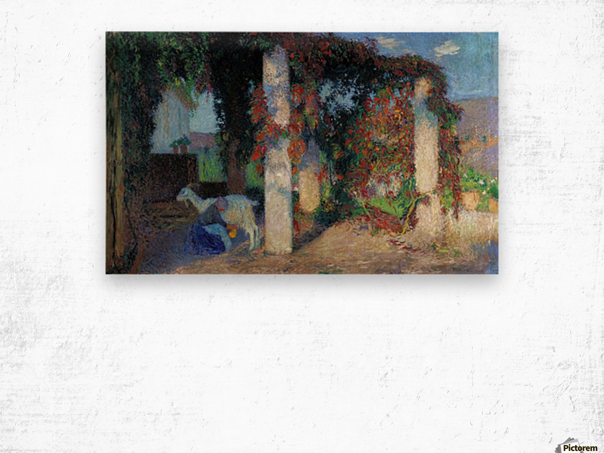 Young Girl Milking the Goat in the Arbour of Marquyarol Wood print