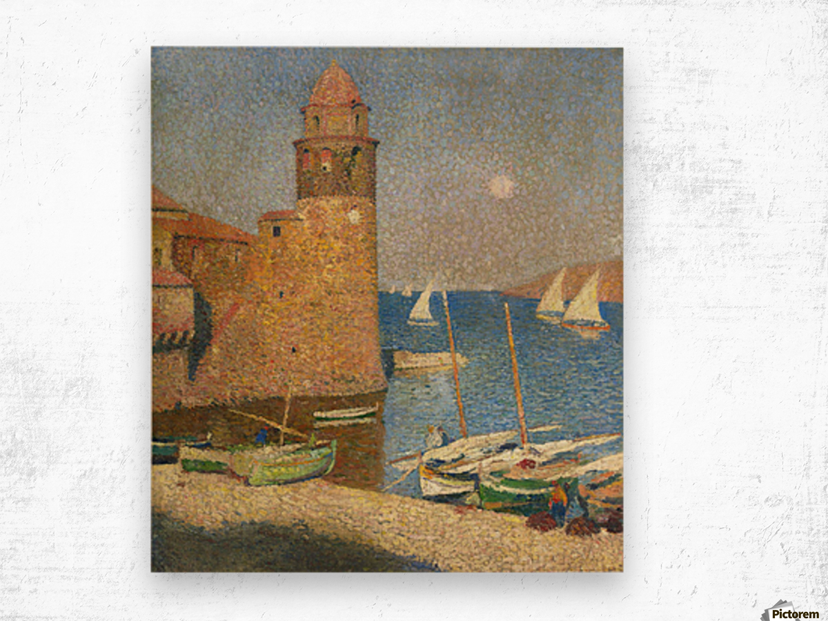 The Tower of Collioure under the Rising Moon Wood print