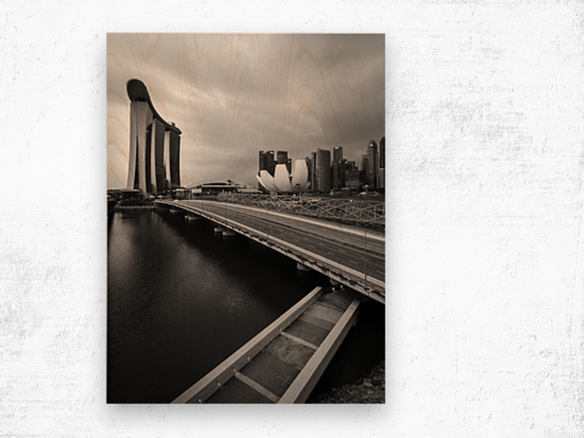 Singapores Marina Bay seen from the highway crossover Wood print