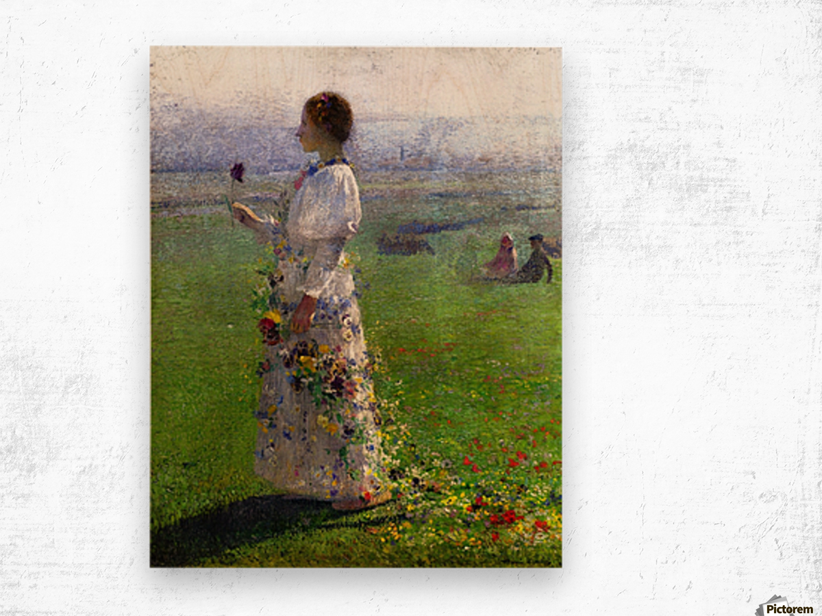 Young Woman Walking by the Field Wood print