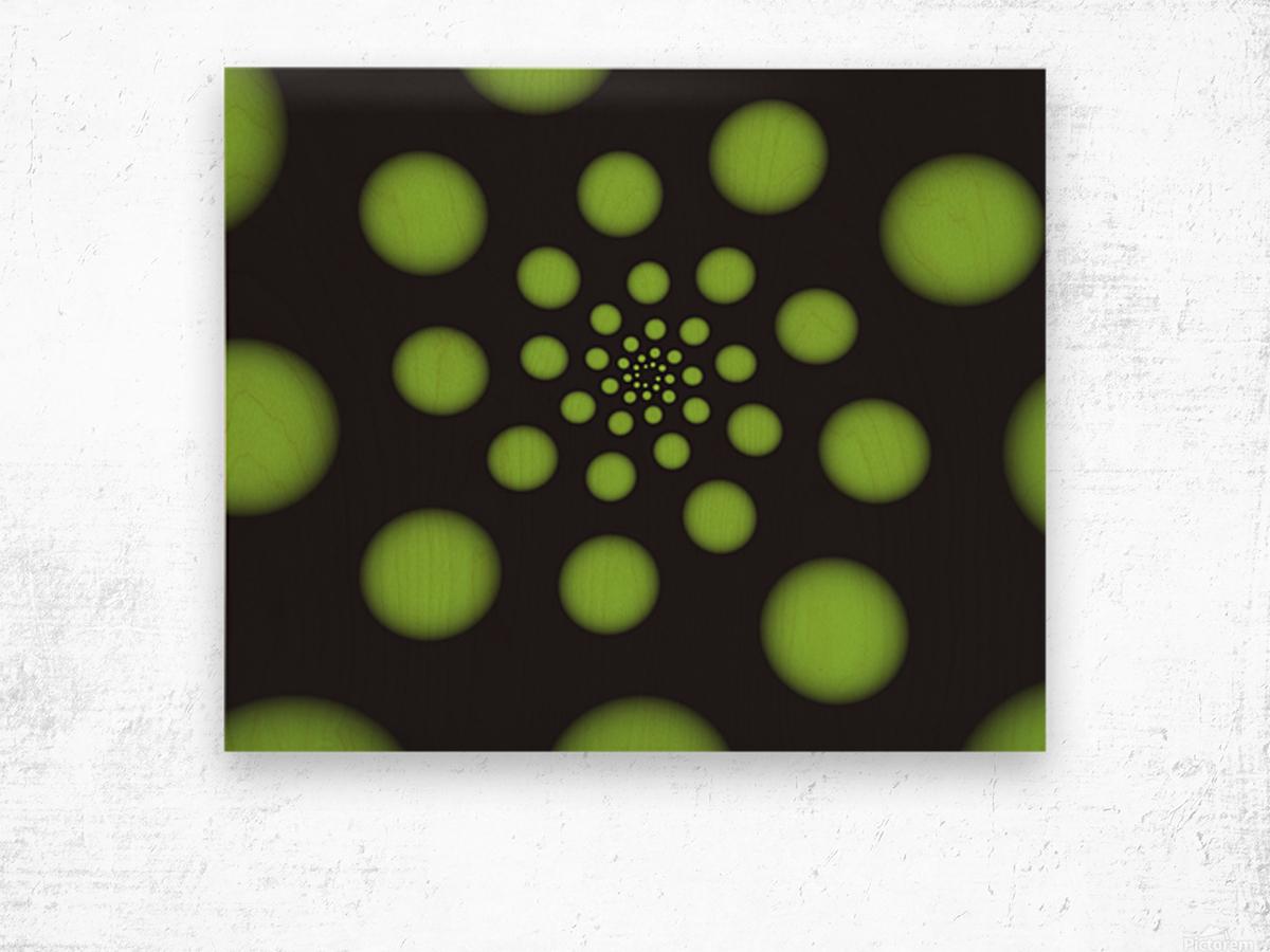 Green Spiral Dots Wood print