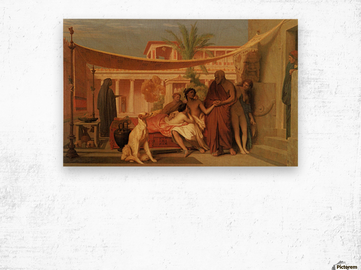 Socrates seeking Alcibiades in the House of Aspasia Wood print