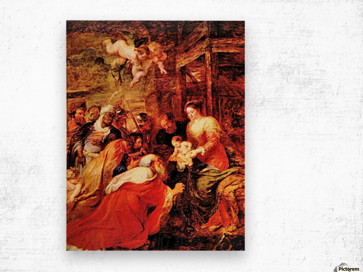 Adoration of the Magi by Rubens Wood print